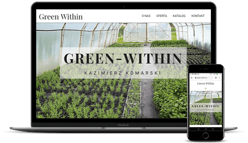 prezentacja responsywnego wyglądu strony green-within.eu na monitorze i smartfonie