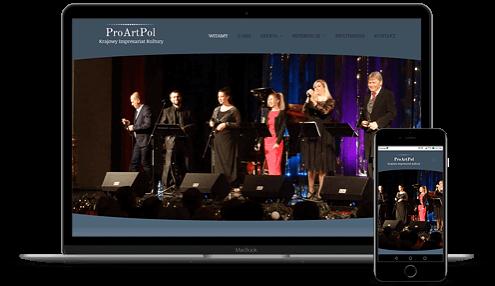 prezentacja responsywnego wyglądu strony proartpol.pl na monitorze i smartfonie