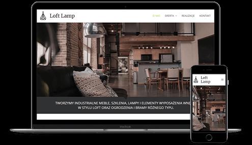 prezentacja responsywnego wyglądu strony loft-lamp.pl na monitorze i smartfonie