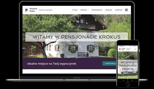 prezentacja responsywnego wyglądu strony pensjpnatu demo na monitorze i smartfonie