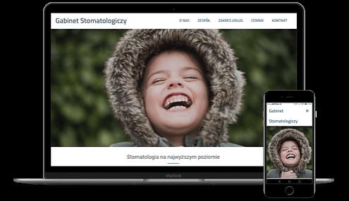 prezentacja responsywnego wyglądu strony gabinetu stomatologicznego na monitorze i smartfonie