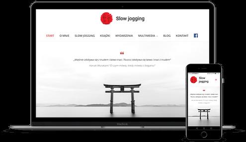 prezentacja responsywnego wyglądu strony slowjogging.run na monitorze i smartfonie