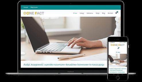 prezentacja responsywnego wyglądu strony onefact.pl na monitorze i smartfonie