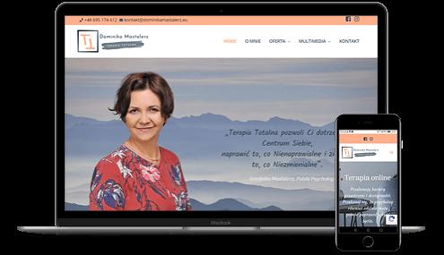 prezentacja responsywnego wyglądu strony dominikamastalerz.pl na monitorze i smartfonie