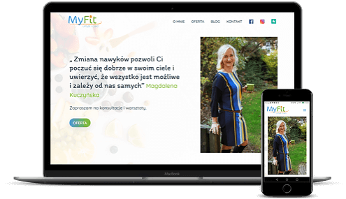 prezentacja responsywnego wyglądu strony myfitdietetyk.pl na monitorze i smartfonie