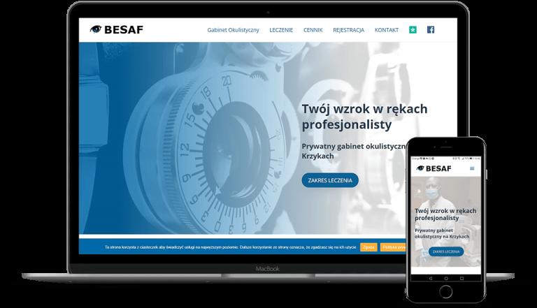 prezentacja responsywnego wyglądu strony benefur.com.pl na monitorze i smartfonie