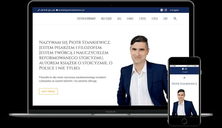 prezentacja responsywnego wyglądu strony piotrstankiewicz.pl na monitorze i smartfonie