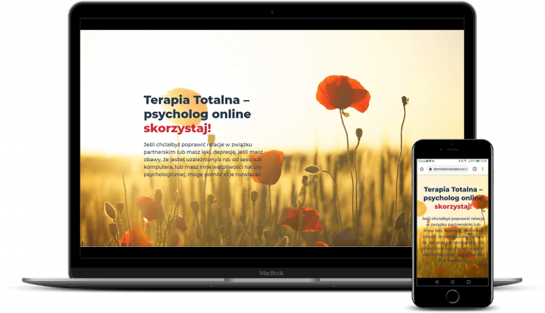 prezentacja responsywnego wyglądu strony dominikamastalerz.eu/terapia-totalna na monitorze i smartfonie