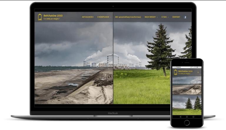 prezentacja responsywnego wyglądu strony belchatow2050.pl na monitorze i smartfonie