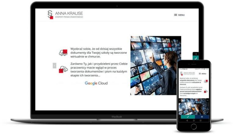 prezentacja responsywnego wyglądu strony annakrause.com.pl na monitorze i smartfonie