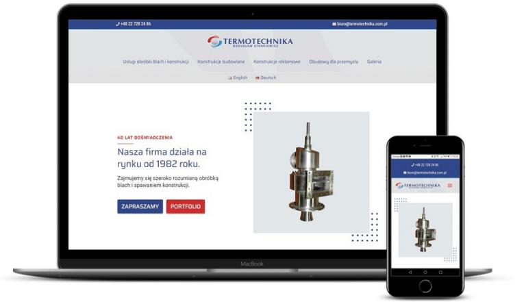 prezentacja responsywnego wyglądu strony termotechnika.com.pl na monitorze i smartfonie